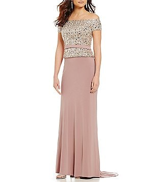 Lasting Moments Off-the-Shoulder Beaded Gown