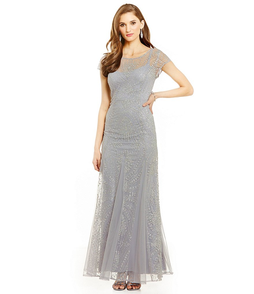 Brianna Glitter Illusion Short Sleeve Gown