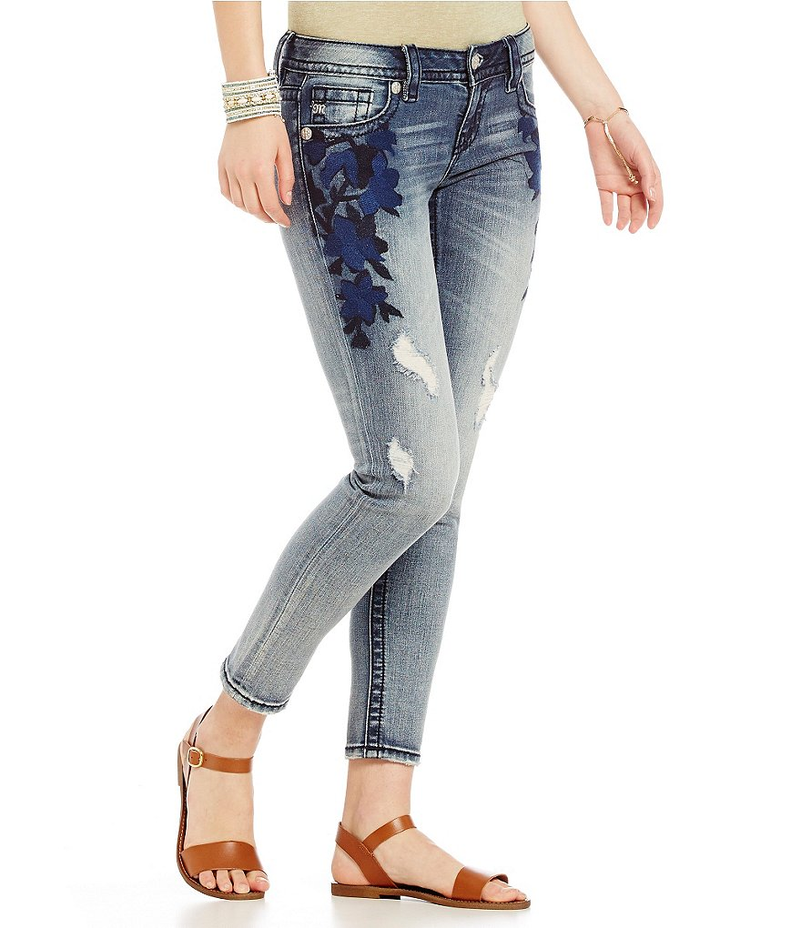 Miss Me Embroidered Distressed Skinny Jeans