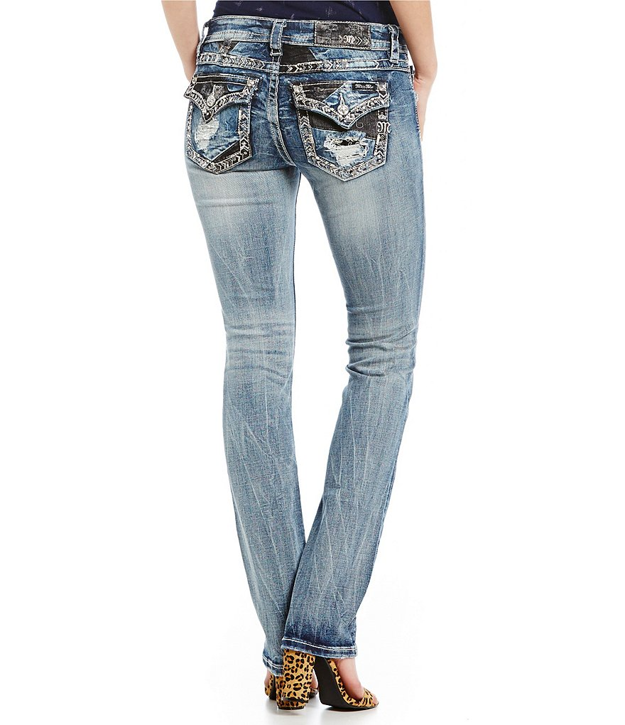 Miss Me Border Pocket Mid-Rise Straight Jeans