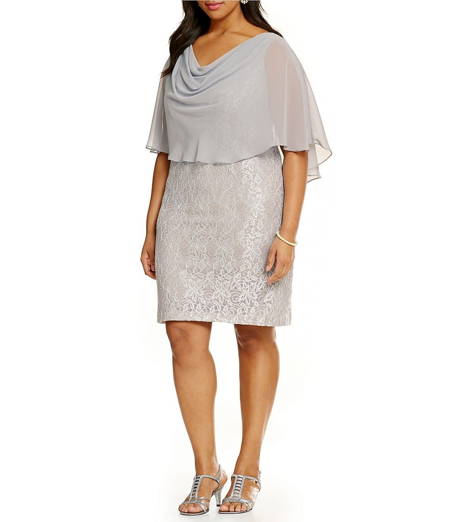 Jessica Howard Plus Glitter Lace Shift Dress