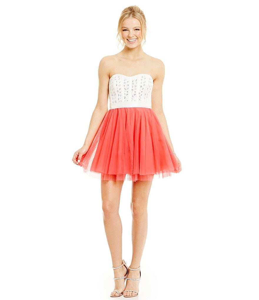 Teeze Me Jeweled Corset Color Block Swing Party Dress