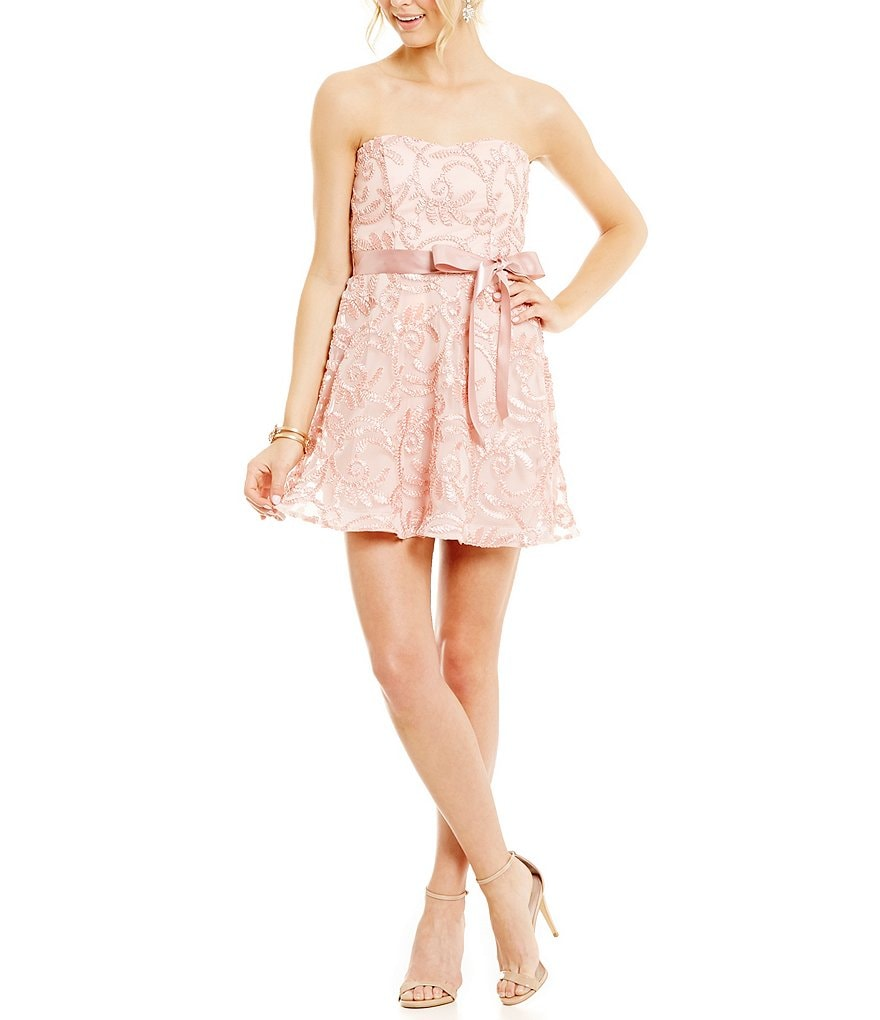 Teeze Me Strapless Soutache Swing Party Dress