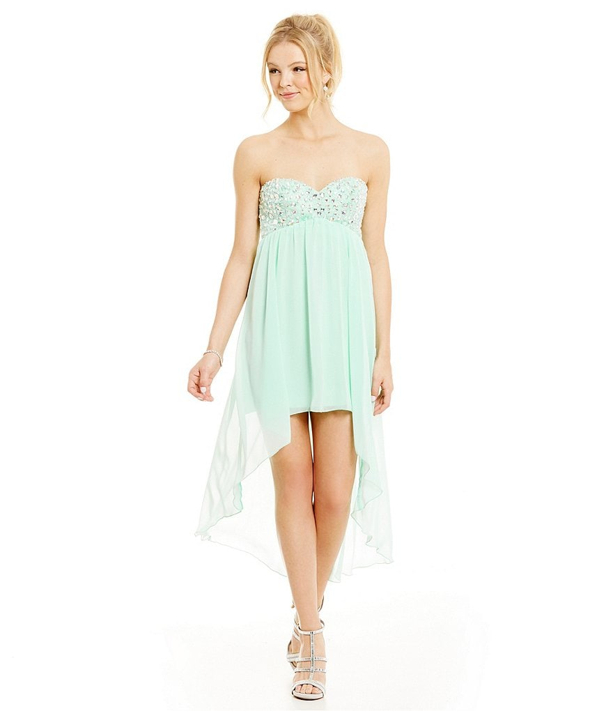 B. Darlin Strapless Jeweled Bust High-Low Sheath Dress