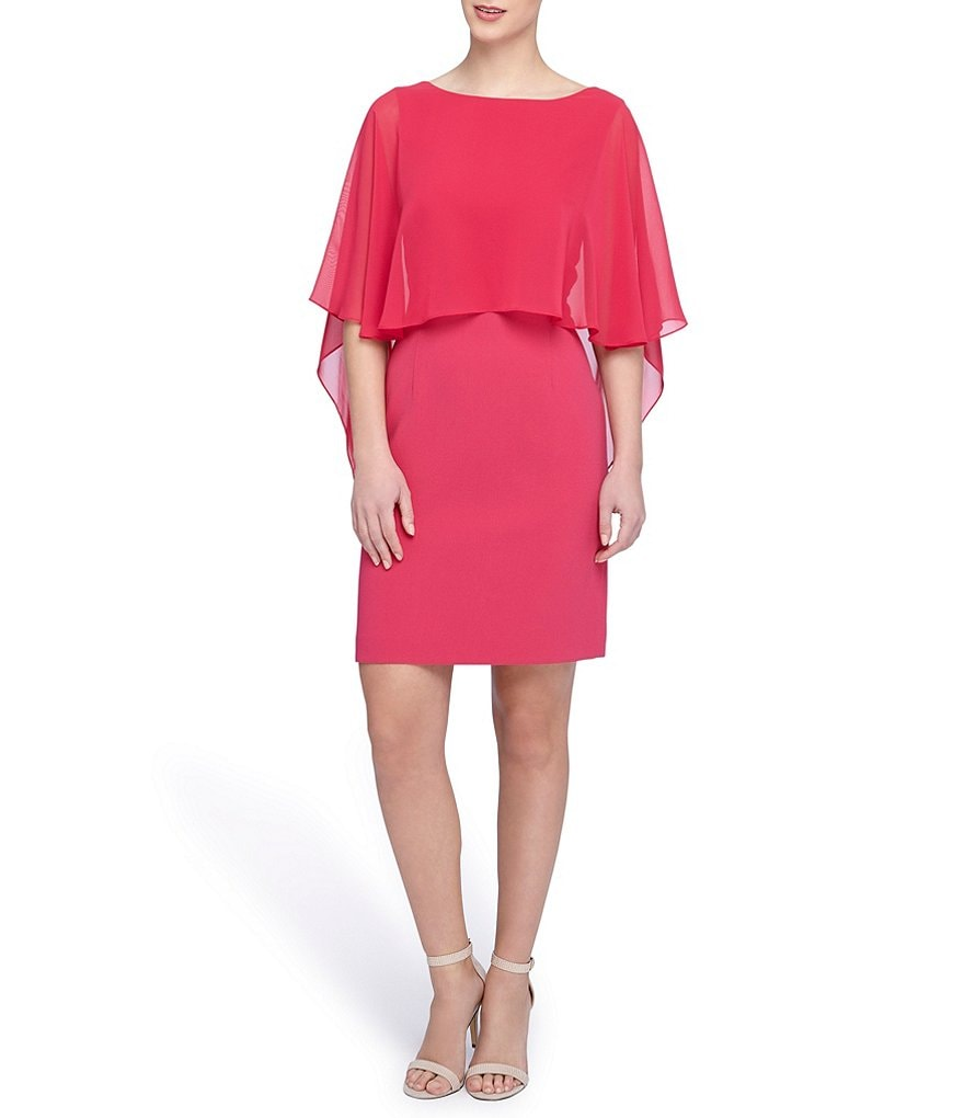 Tahari ASL Chiffon Cape Sheath Dress