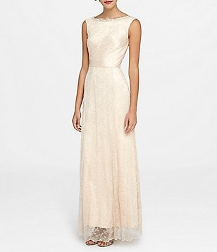 Tahari ASL Beaded Neck Lace Gown