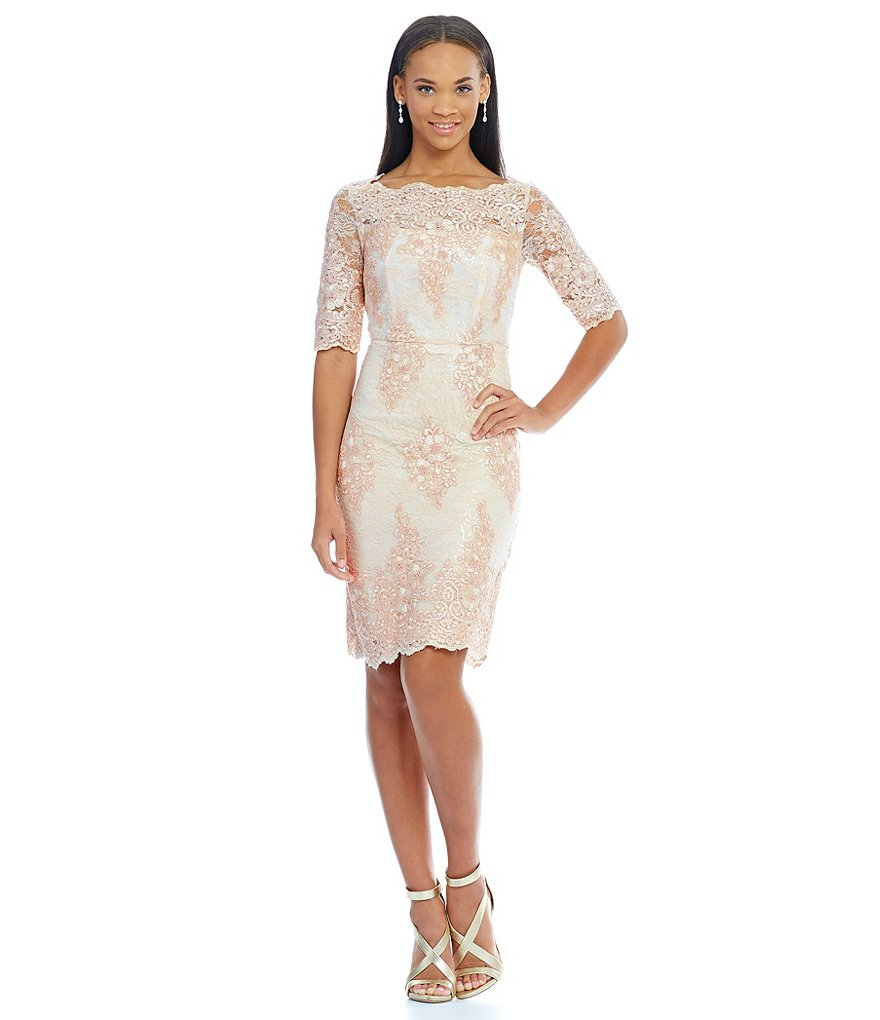 Tahari ASL Sequin Lace Sheath Dress