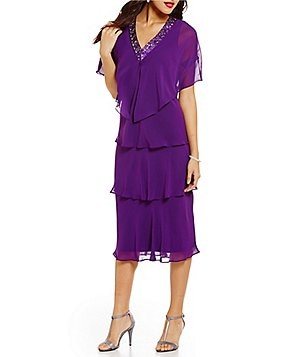 S.L. Fashions Capelet Tiered Jacket Dress