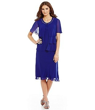 S.L. Fashions Bead-Neck Tiered Jacket Dress