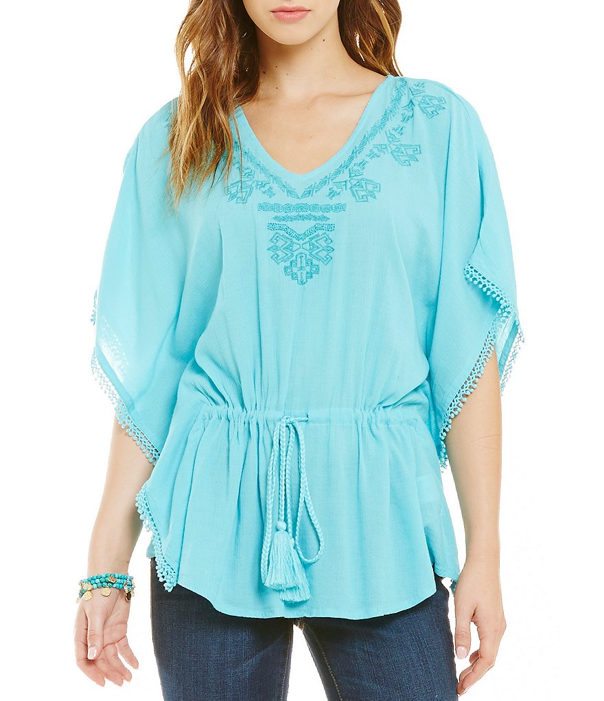Jessica Simpson Tristan Embroidered Woven Top