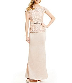Ignite Evenings Lace Belted Peplum Gown