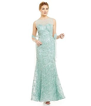 Ignite Evenings Beaded Illusion Neck Gown