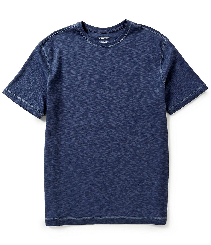 Roundtree & Yorke Short-Sleeve Solid Linen Blend Crewneck Tee