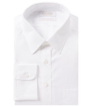 Gold Label Roundtree & Yorke Non-Iron Solid Slim-Fit Point Collar Dress Shirt