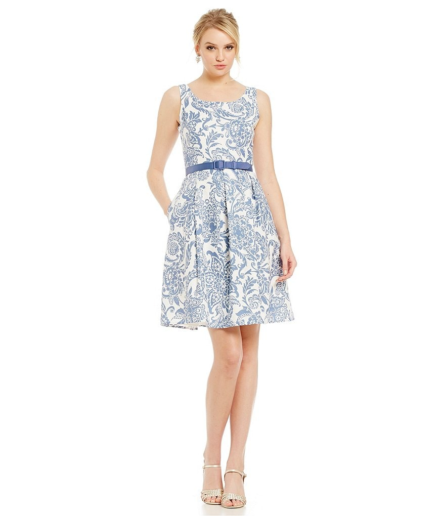 Jessica Howard Paisley-Print Belted Fit-and-Flare Dress