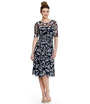 Jessica Howard 3/4 Sleeve Printed Illusion Neck Sheath Dress