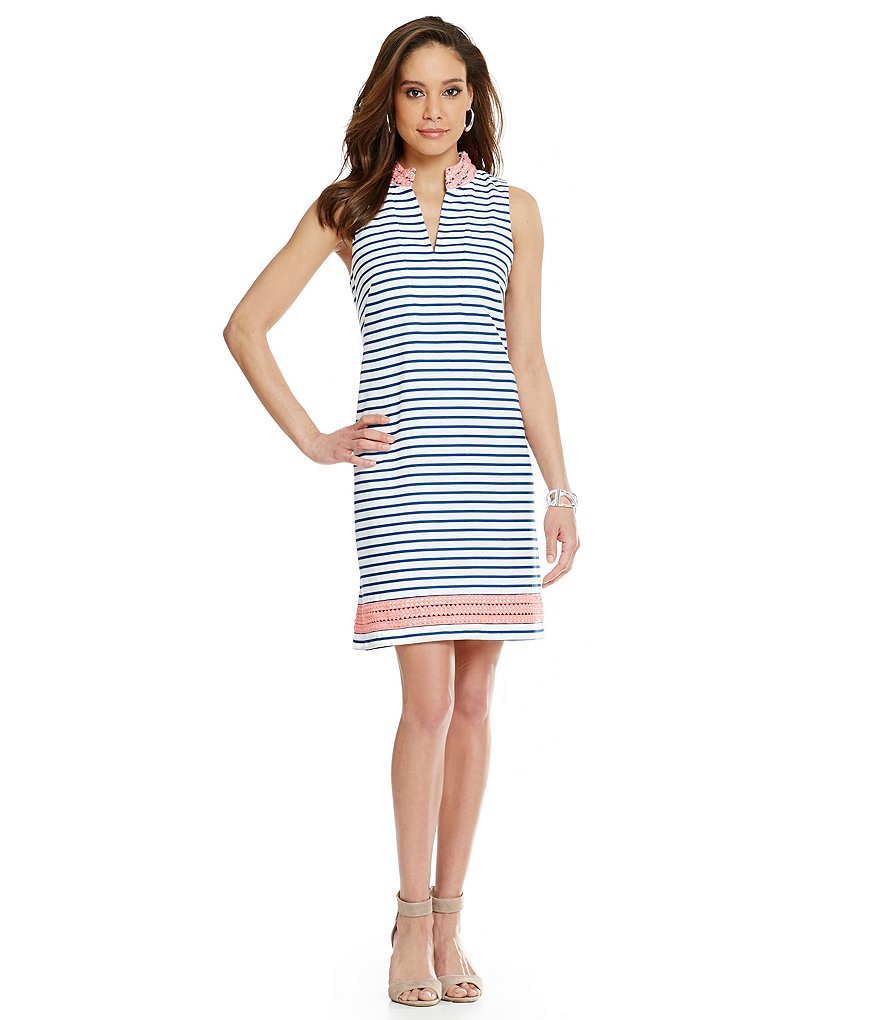 Jessica Howard Striped Split Neck Sheath Dress