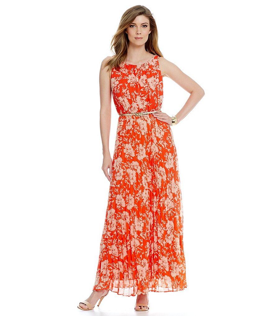 Jessica Howard Floral Belted Pleated Maxi Dress