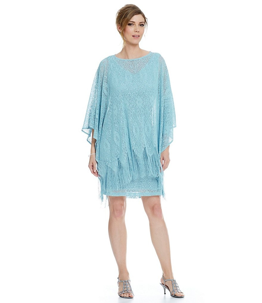 Jessica Howard Fringe Poncho Lace Dress