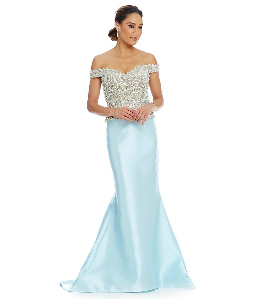Lasting Moments Beaded Bodice Off-the-Shoulder Mermaid Gown