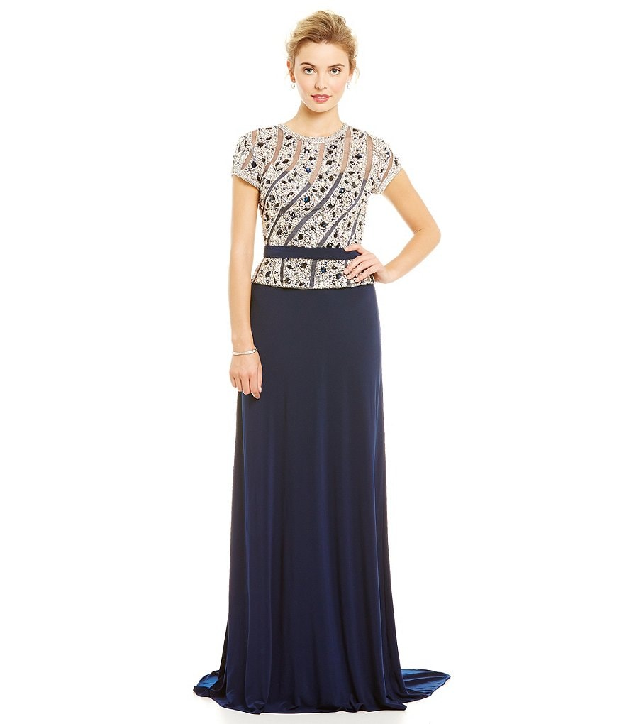 Lasting Moments Beaded Bodice Jersey Skirt Gown