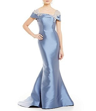 Lasting Moments Portrait Collar Beaded Mermaid Gown