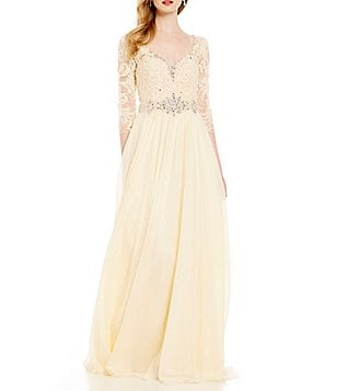 Lasting Moments V-Neck Lace Bodice Gown