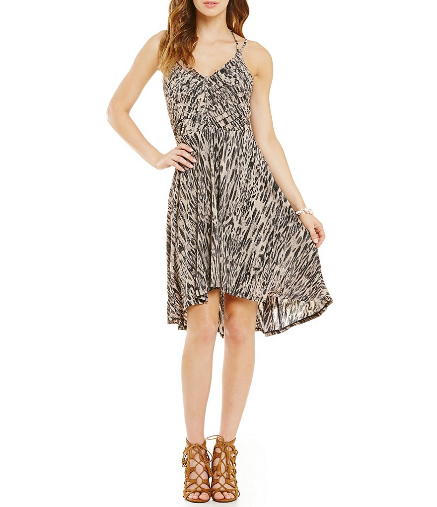 Jessica Simpson Nicola Printed High-Low Hem Halter Dress