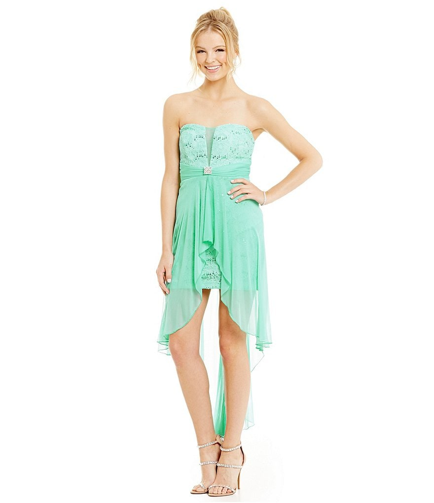 Teeze Me Strapless Twist Front High-Low Dress