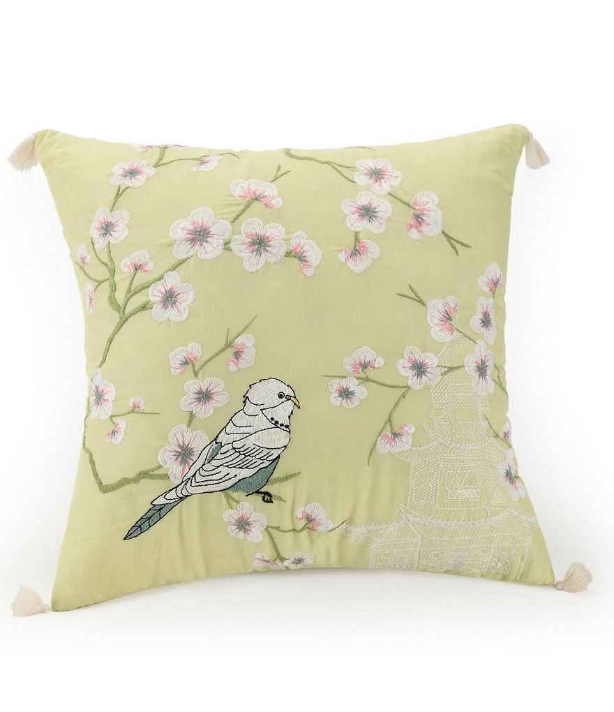 Jessica Simpson Elodie Bird & Floral-Embroidered Square Pillow