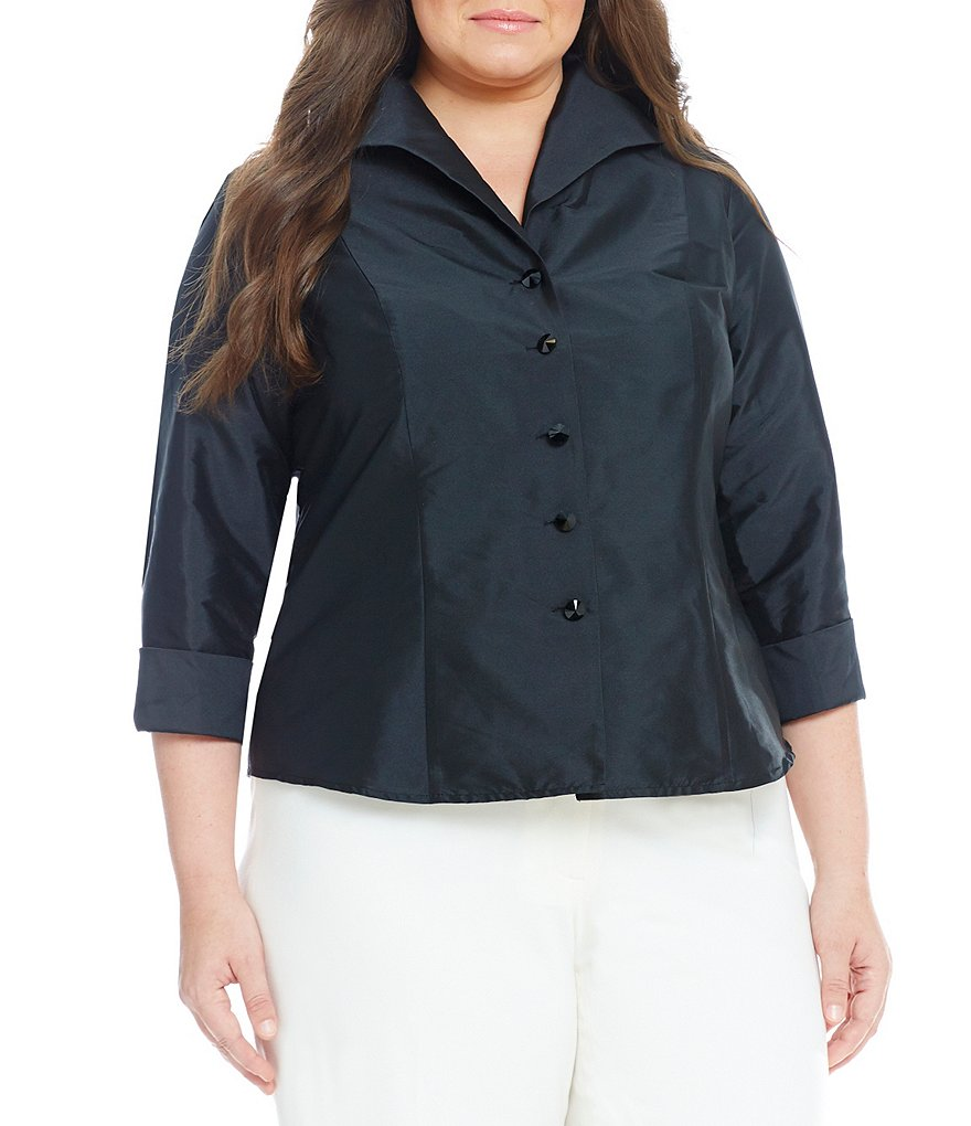 Adrianna Papell Plus Taffeta Button-Front Blouse