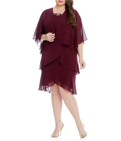 S.L. Fashions Plus Tiered Jacket Dress | Dillards