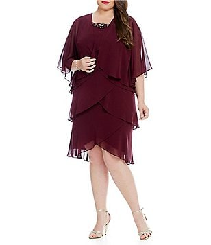 S.L. Fashions Plus Tiered Jacket Dress