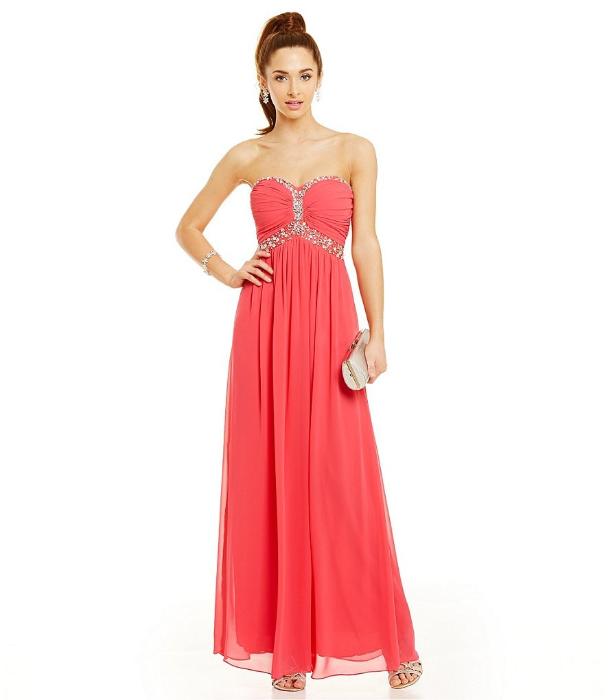 B. Darlin Strapless Infinity Beaded Bust Gown