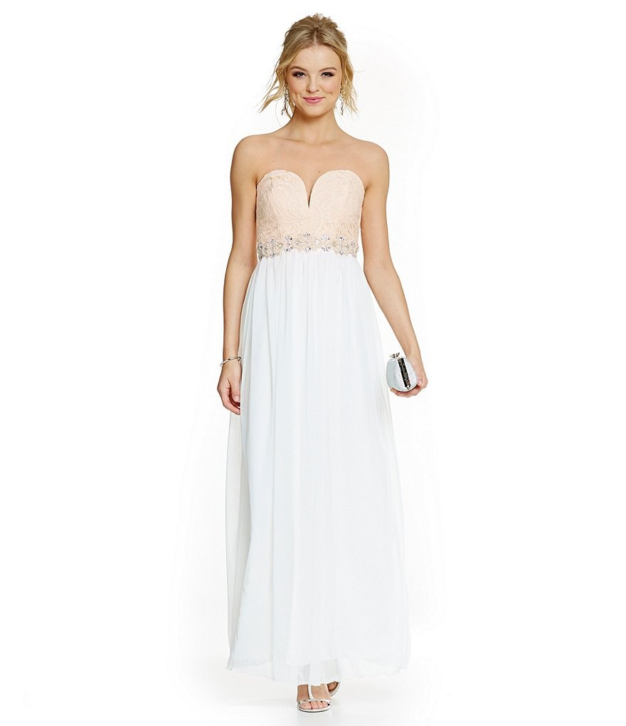 Jodi Kristopher Strapless Sweetheart Lace Bodice Color-Blocked Gown