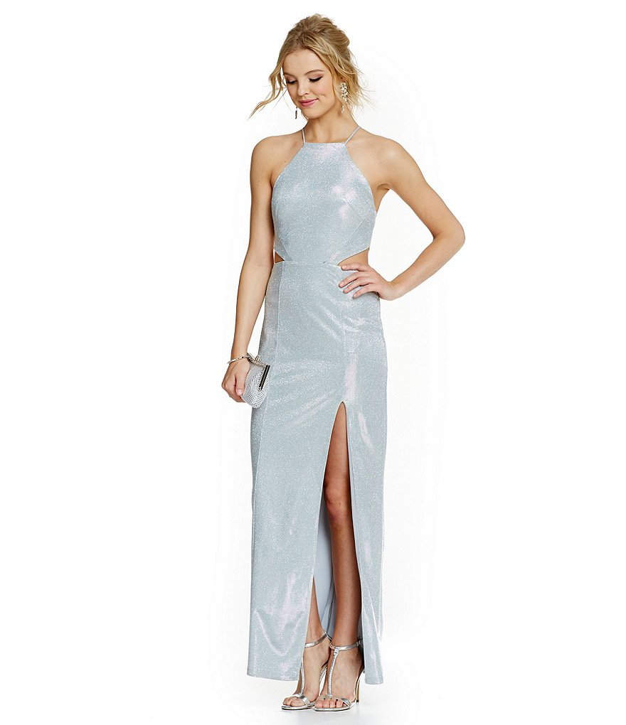 Jodi Kristopher High Neckline Side Cut Out Sequin Gown