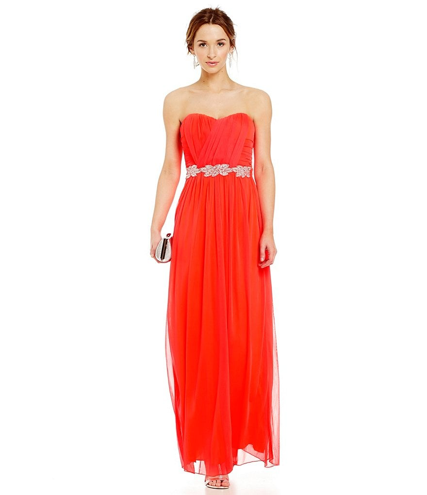 Jodi Kristopher Shirred Wrap Bodice Long Strapless Dress