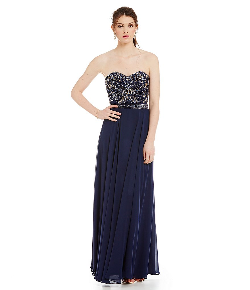 B. Darlin Strapless Beaded Bodice Gown