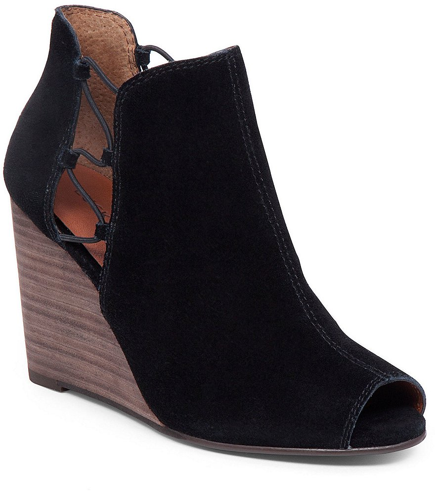 Lucky Brand Reevas Suede Leather Side Cutout Peep-Toe Wedge Booties