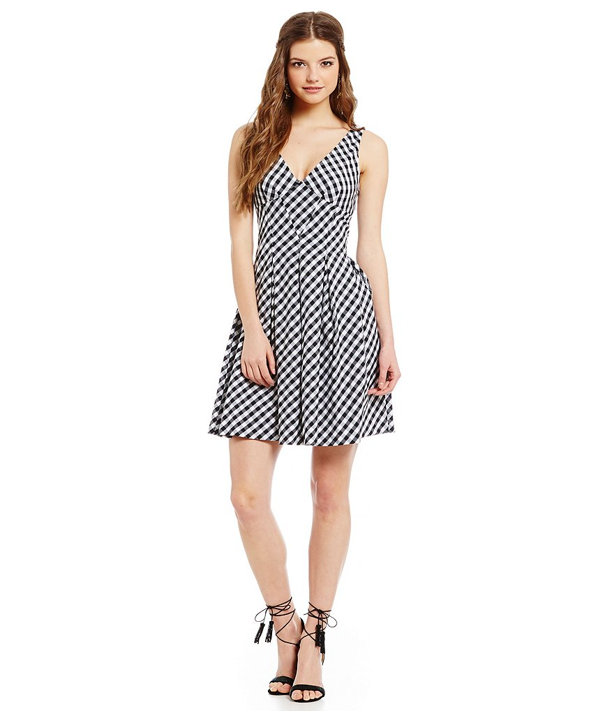 Betsey Johnson Gingham V-Neck Fit-and-Flare Dress