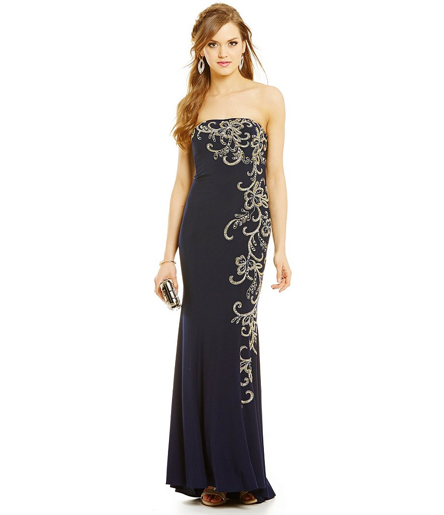 Jump Strapless Embroidered Scroll Gown