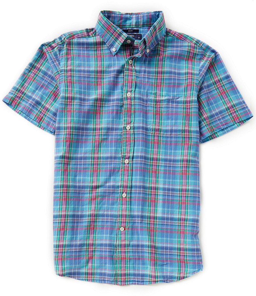 Cremieux Short-Sleeve Slim-Fit Plaid Woven Shirt
