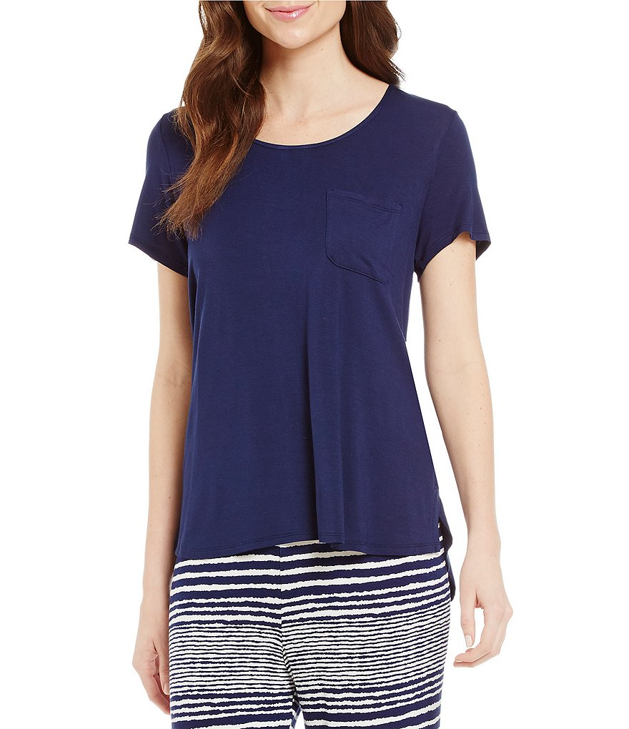 Anne Klein Striped-Inset Sleep Top