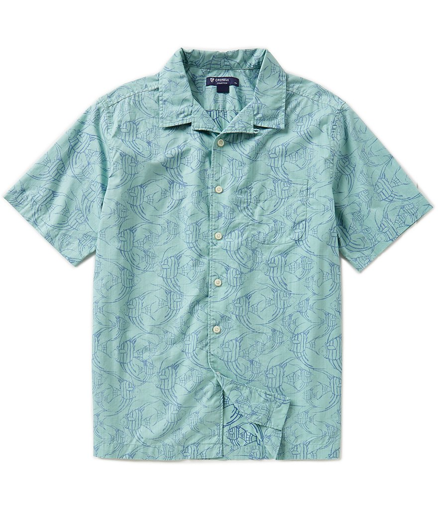 Cremieux Fish-Print Short-Sleeve Camp Shirt