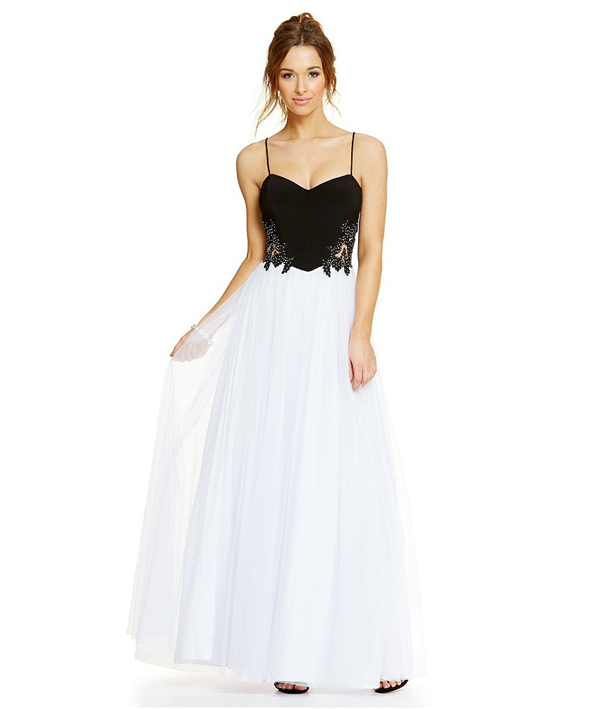 Blondie Nites Embroidered Sides Colorblock Long Gown