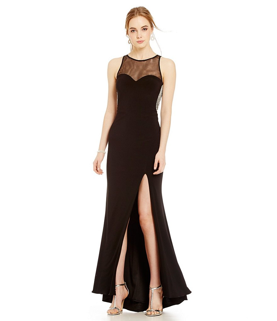 Blondie Nites Sleeveless Pearl Trim Open Back Long Dress