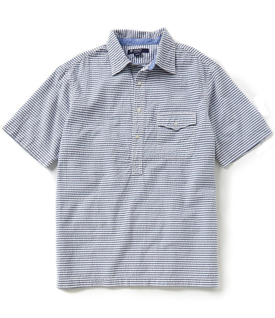 Cremieux Horizontal Striped Button-Down Short-Sleeve Shirt
