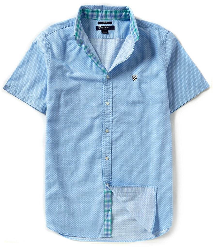 Cremieux Short-Sleeve Slim-Fit Dobby Woven Shirt