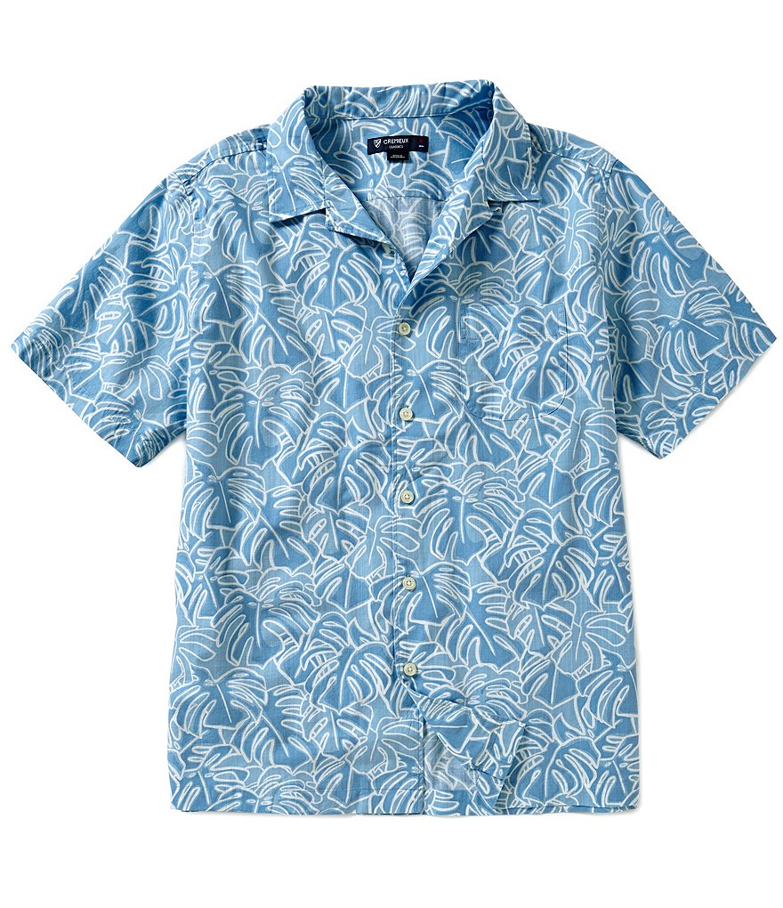 Cremieux Leaf-Print Short-Sleeve Button-Down Shirt