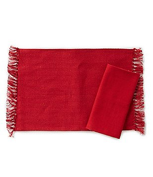 Aman Imports Fringed Herringbone Jute Table Linens